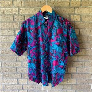 Vintage 90's Flowy Button Front Paint Stoke Shirt